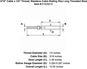 "3/16"" Cable x 1/4"" Thread, Stainless Cable Railing Xtra Long Threaded Stud Image 4"