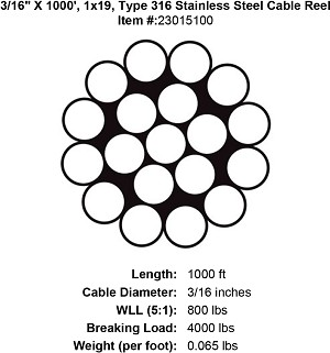 "3/16"" X 1000', 1x19, Type 316 Stainless Steel Cable Reel Image 3"