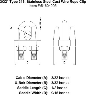"3/32"" Type 316, Stainless Steel Cast Wire Rope Clip Image 4"