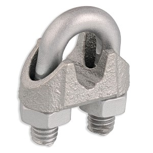 "1/4"" Zinc Plated Malleable Wire Rope Clip Image 1"